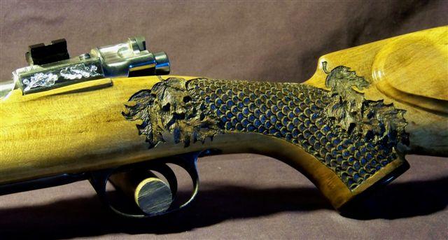 Carving A Basket Weave Pattern On A Gunstock : Gunstocks custom gun stock carving engraving