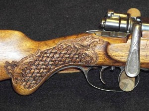 Basketweave carving on grip of Mauser 6.5x55 rifle