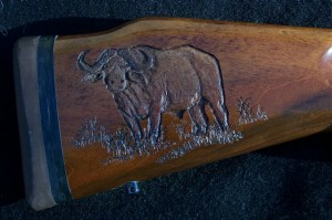 Cape buffalo carving on Sako gunstock image