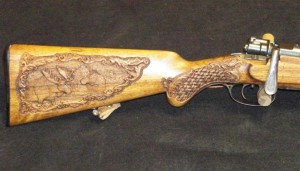Moose carving on Buttstock of 6.5x55 Mauser rifle