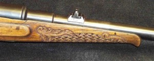 Basketweave carving on forearm of Mauser 6.5x55