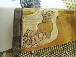 Coues deer & cactus rough out carving image