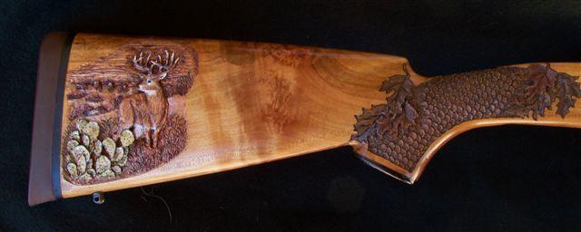 Coues deer rifle custom gun stock carving engraving