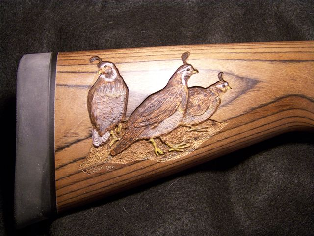 Custom carved shotgun a quail trio gun stock