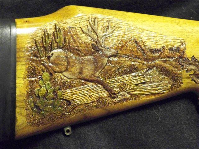 Custom Carved Mule Deer Rifle Custom Gun Stock Carving