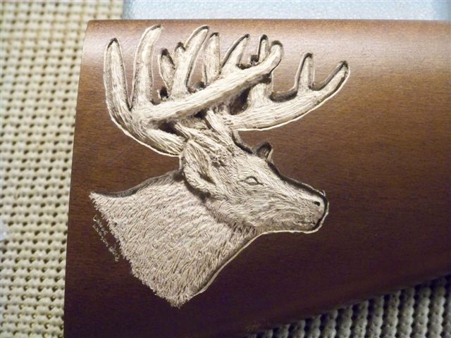 Whitetail Buck Inlaid style carving